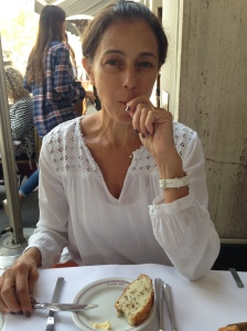 My sister, Angela, savoring the bread at Bar Boulud
