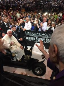 Pope Francis smiling at our mom as she blew him a kiss!