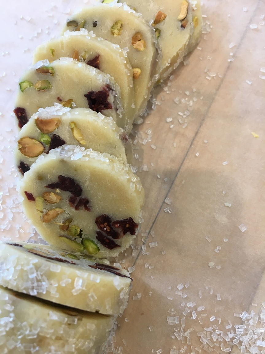 Cranberry – Pistachio Shortbread Cookies