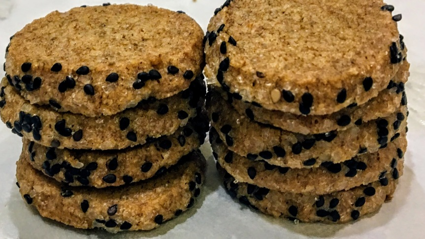 Sesame Crusted Rye Shortbread Cookies